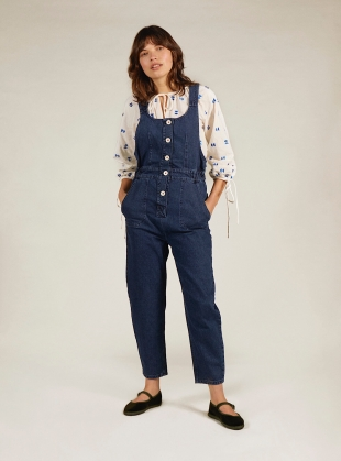 Young British Designers: CLEO DUNGAREES. Indigo - Last pair (XS) by SIDELINE