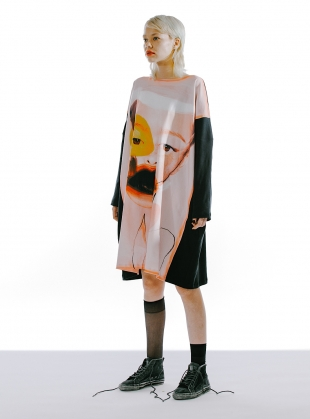 MOON DRESS II. Oversized Organic Cotton/Viscose Jersey by IA London