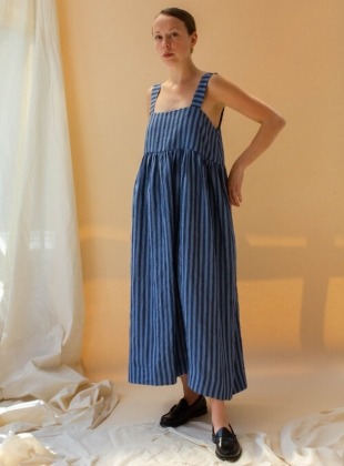 ELBA STRIPE IRISH LINEN DRESS. Blue/Navy by Cawley