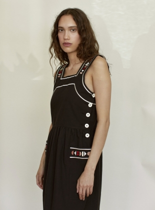 Young British Designers: SUNRISE DRESS. Black with Embroidery by SIDELINE