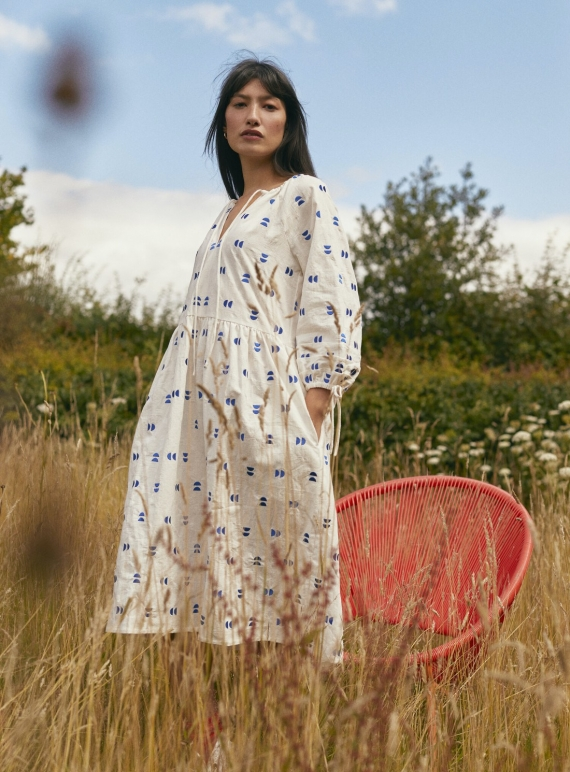 Young British Designers: BOBBY DRESS. White with Cobalt Embroidery by SIDELINE