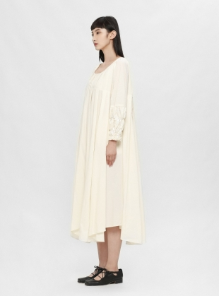 Smocked Boat-Neck Cotton Midi Dress by Renli Su