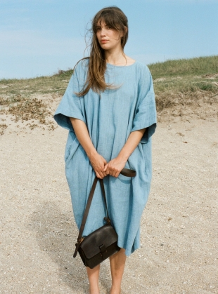 EDIE Dress. Blue Linen by Kate Sheridan