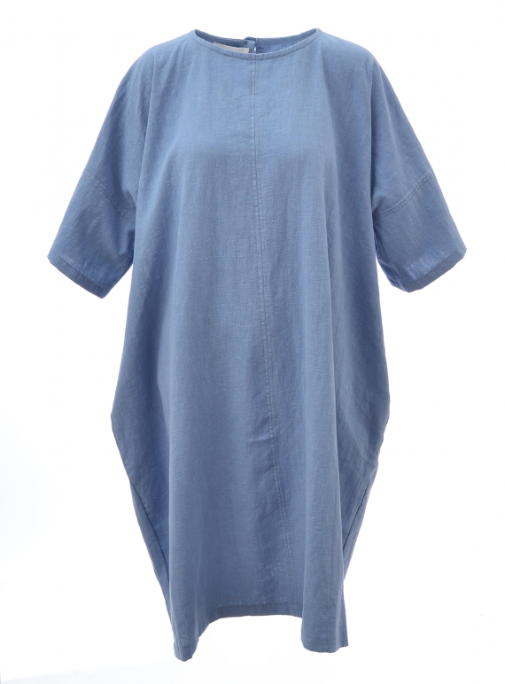 Young British Designers: EDIE Dress. Blue Linen by Kate Sheridan