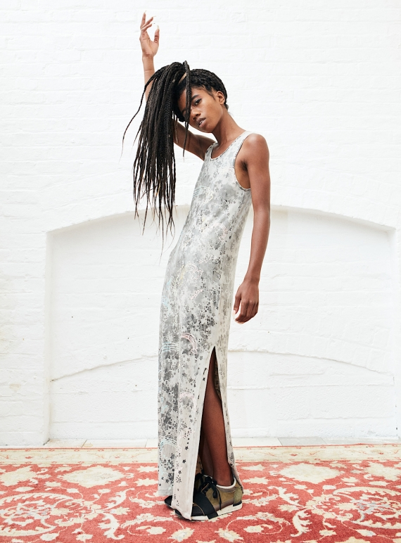 Young British Designers: MAXI DRESS with Rainbows and Stars - last one (xs) by Simeon Farrar