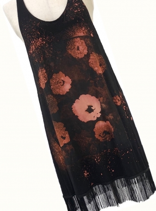 Young British Designers: Black FRINGE DRESS with FLOWERS by Simeon Farrar