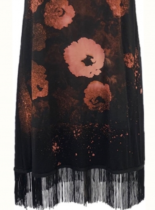 Young British Designers: Black FRINGE DRESS with FLOWERS - Last one (S) by Simeon Farrar