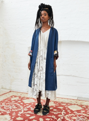 Young British Designers: CIRCULAR Taupe LINEN DRESS with RAINBOWS & STARS by Simeon Farrar