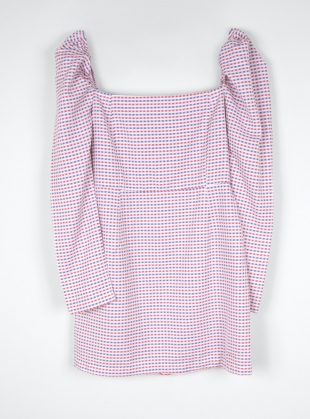 Young British Designers: Checked Organic Cotton Volume Shoulder Dress by Fanfare Label