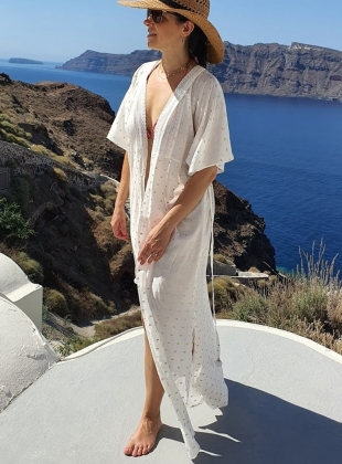 Young British Designers: OIA KAFTAN. Lurex Gold and White by Ziiga