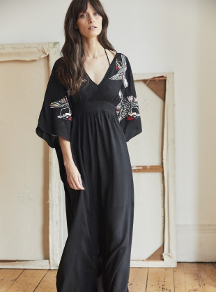 SALINA KAFTAN. Black/Blue Jay by Tallulah & Hope