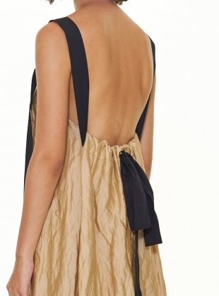 Young British Designers: Pale Gold Slip Dress with Gathered Back Detail  by WEN PAN