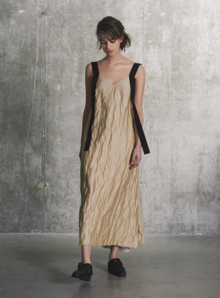 Pale Gold Slip Dress with Gathered Back Detail  by WEN PAN
