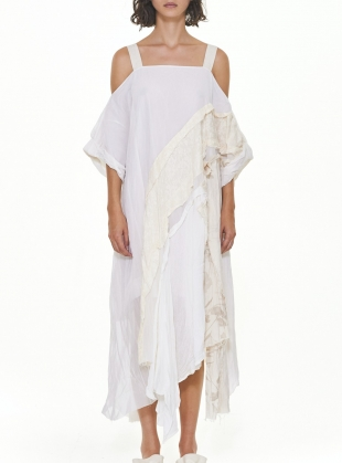 White Asymmetric Drop Shoulder Dress by WEN PAN