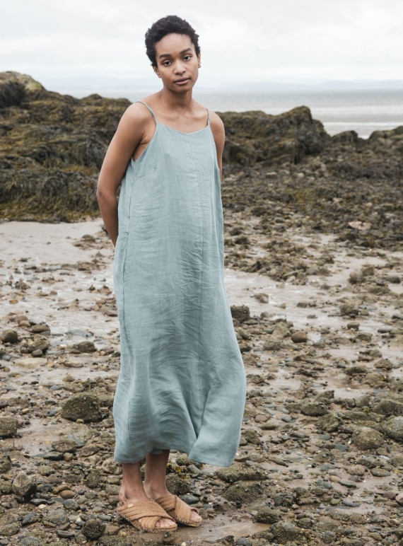 Young British Designers: ATHEA LINEN DRESS. Ocean by Beaumont Organic
