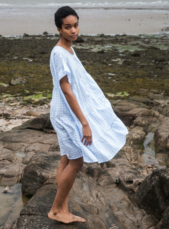 Young British Designers: QUILA-GEE Pale Blue Gingham LINEN DRESS by Beaumont Organic