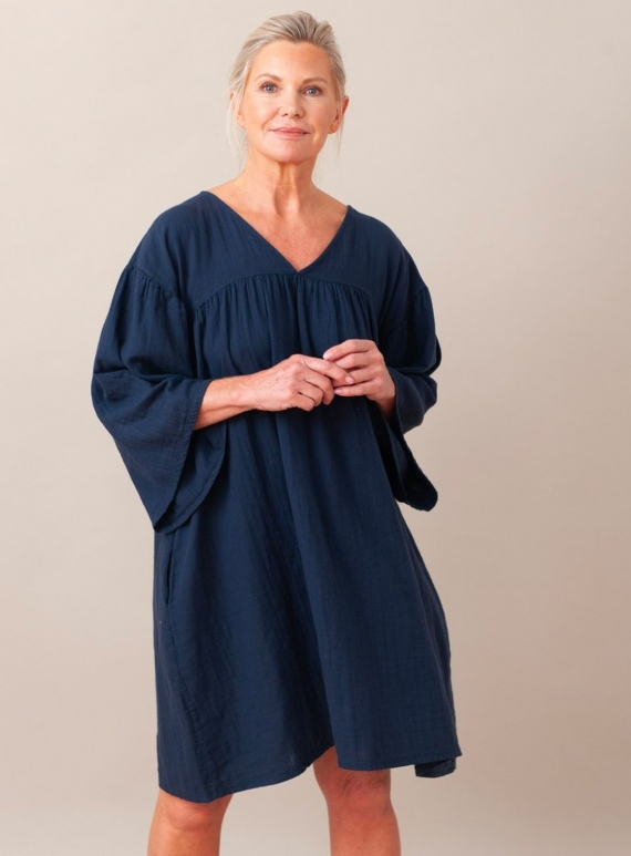 Young British Designers: DYLLA  NAVY ORGANIC COTTON DRESS by Beaumont Organic