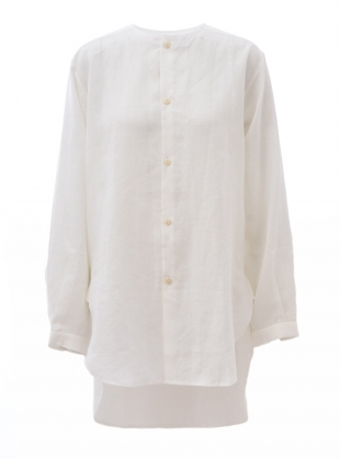 UNISEX COLLARLESS SHIRT TUNIC. White Ramie by Phoebe English