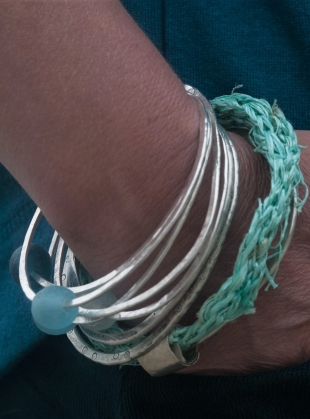 Young British Designers: Recycled Silver and Sea-String Bangle by Sarah Drew Jewellery