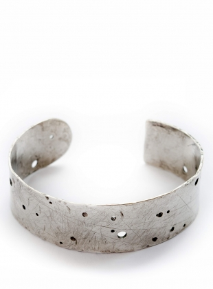 Large Silver Erosion Cuff by Sarah Drew Jewellery