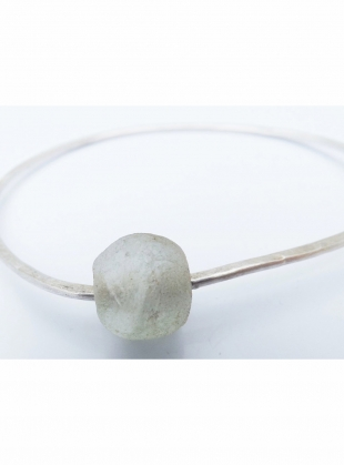 Young British Designers: Silver Recycled Bottle Bead Bangle by Sarah Drew Jewellery