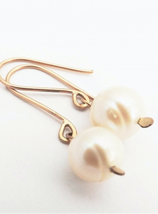 Freshwater Pearl 9ct Gold Drop Earrings by Sarah Drew Jewellery