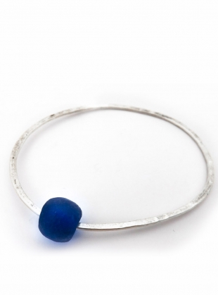 Silver Recycled Bottle Bead Bangle by Sarah Drew Jewellery