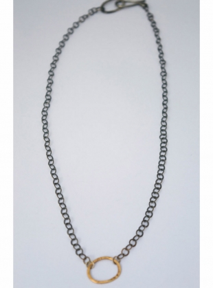 9ct Gold and Oxidised Silver Chain by Sarah Drew Jewellery