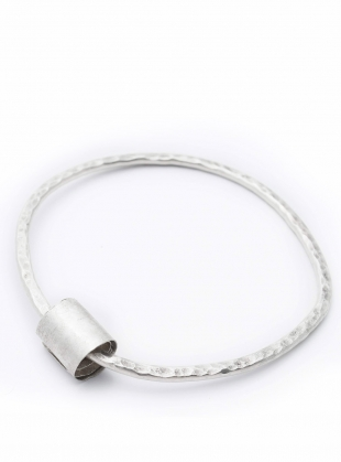 Hammered Heavy Eco-Silver Rip-Curl Bangle by Sarah Drew Jewellery