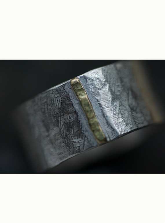 Young British Designers: Wide Monolith Ring with Gold Seam by Lucy Spink