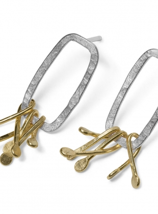 Young British Designers: Cluster Synthesis Earrings. Eco Silver & Gold by Lucy Spink