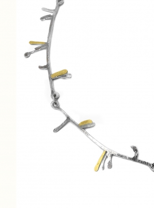 Young British Designers: Striking Lichen Necklace. Eco-Silver & Recycled Gold by Lucy Spink
