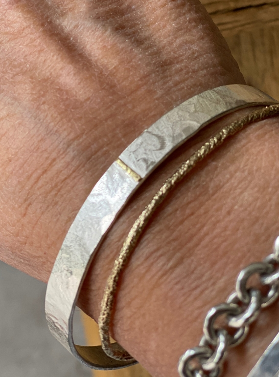 Monolith Bangle with Gold Seam by Lucy Spink