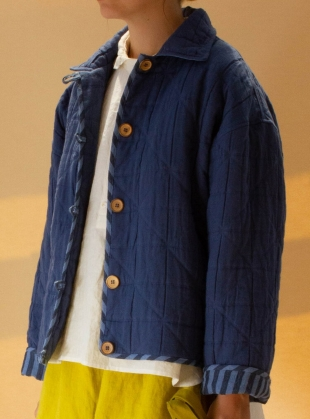 ANYA INDIAN JACQUARD QUILTED JACKET. Marine Blue by Cawley