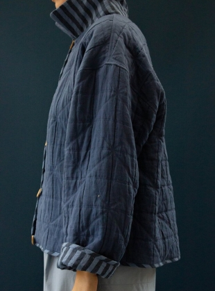 Young British Designers: ANYA INDIAN JACQUARD QUILTED JACKET. Marine Blue by Cawley