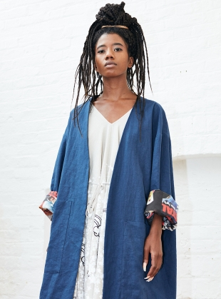 BLUE LINEN SUMMER COAT with Movies Inside by Simeon Farrar