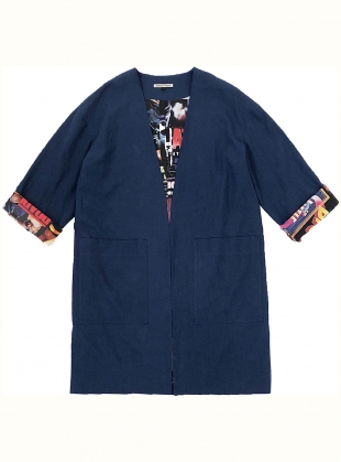 Young British Designers: BLUE LINEN SUMMER COAT with Movies Inside by Simeon Farrar
