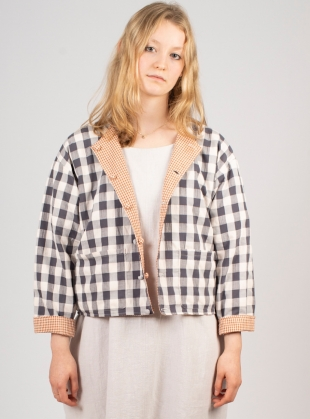 VERSA Reversible Jacket. Rust/Black and White Gingham by Kate Sheridan