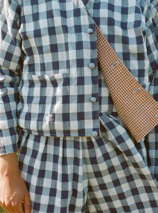 Young British Designers: VERSA Reversible Jacket. Rust/Black and White Gingham by Kate Sheridan