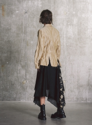 Young British Designers: Pale Gold Layered & Distressed Blazer- Limited Edition by WEN PAN
