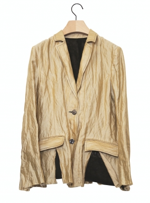 Pale Gold Layered & Distressed Blazer- Limited Edition by WEN PAN