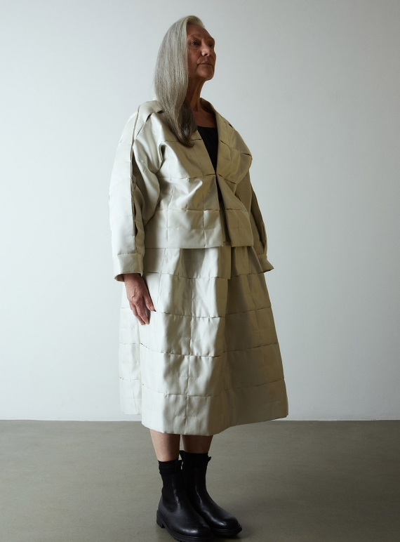 Young British Designers: QUILTED PUFF JACKET. Ivory by Phoebe English