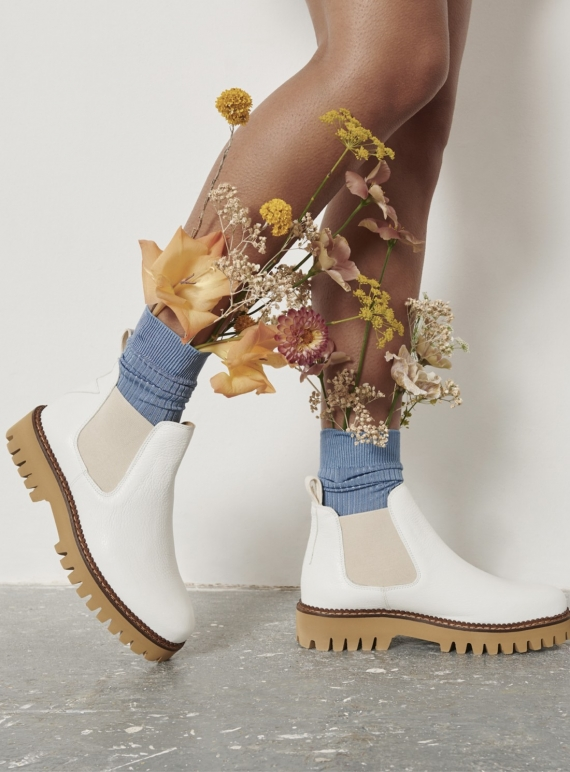 Young British Designers: ZOLA BOOT in White Leather by Rogue Matilda