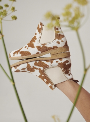Young British Designers: TERRY BOOT. Brown and White Cow Print by Rogue Matilda