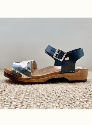 LOW FIKA. Hand Painted Deep Indigo by Kitty Clogs Sweden