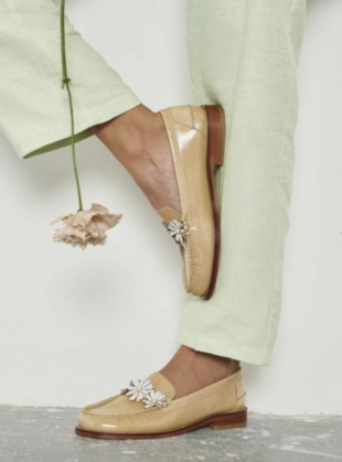 Young British Designers: DITSY LOAFER. Tan Coated Leather by Rogue Matilda