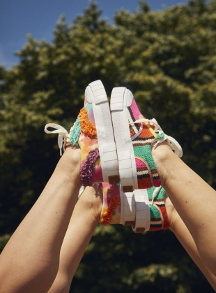 Young British Designers: OPAL FRINGE LOW TOPS. Tie Dye by Good News