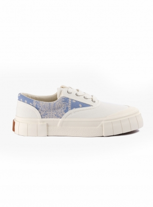 OPAL PAISLEY LOW TOPS. White/Blue by Good News