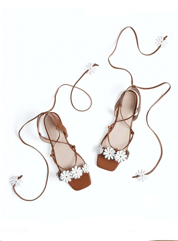 Young British Designers: BLOOMIN' LOVELY SANDAL. Tan Leather by Rogue Matilda