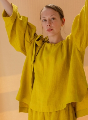 BARCO LITHUANIAN LINEN BLOUSE. Chartreuse by Cawley